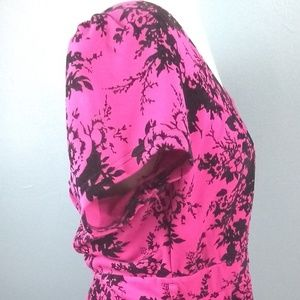 City Chic dress, pink with black floral print.